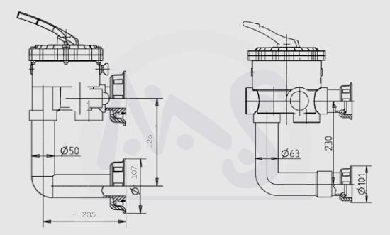 sandfilter 6 wege r cksp lventil inkl rohranschlu side. Black Bedroom Furniture Sets. Home Design Ideas