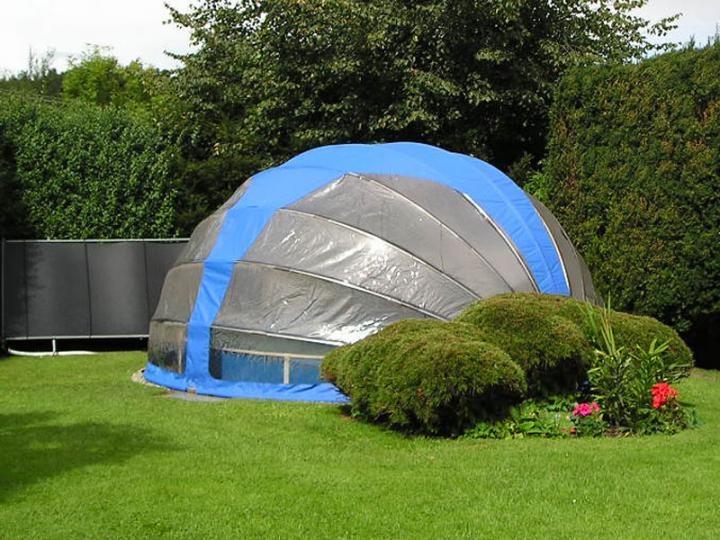 Mobile Poolüberdachung rund 4,10 x 2,20 m - Schwimmbad ...