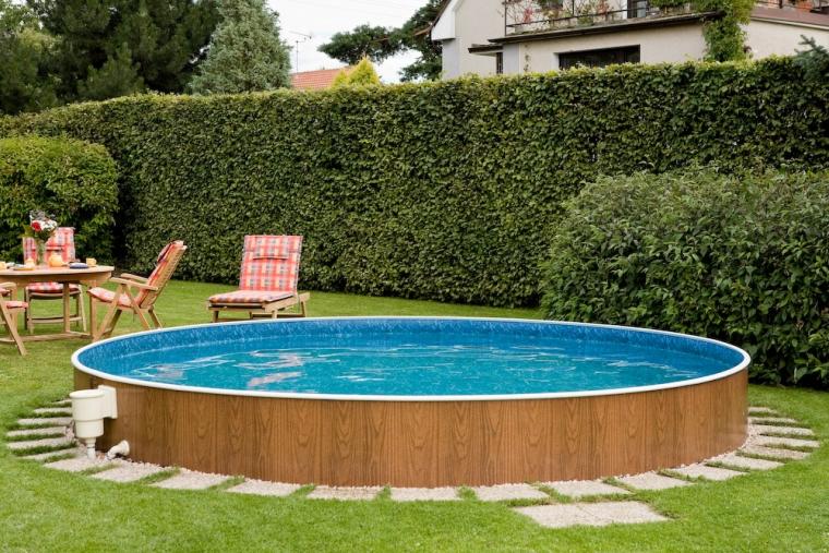Schwimmbecken holzoptik 3 60 x 1 07 m rundbecken for Stahlwandbecken pool