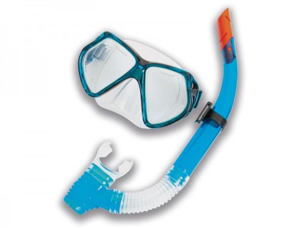 Taucherbrillen Set Profi Pro blau/schwarz