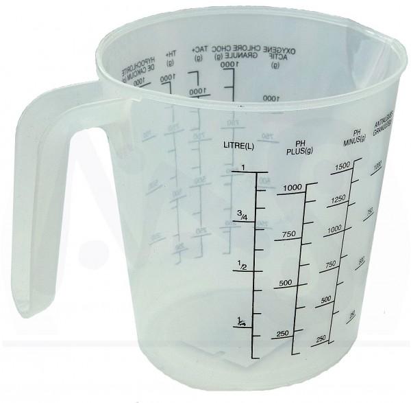Dosierbecher Messbecher 1L für Chlor pH Minus Algen