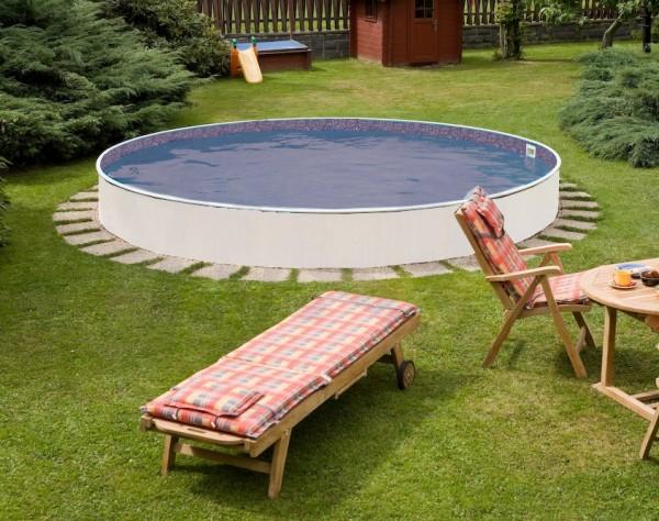 Rundpool set 3 60 m x 0 90 m mit folie steinoptik for Stahlwandbecken steinoptik