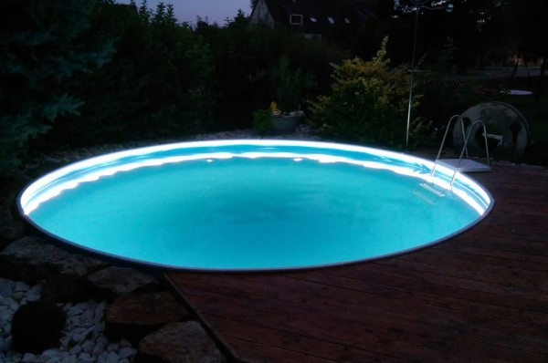 Handlauf mit LED Beleuchtung im Set für Rundpool Ø 4,60 m
