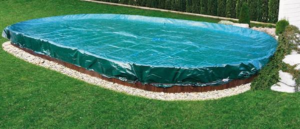 Winter und Sommerabdeckung Oval grün für Pool 8 x 4 m