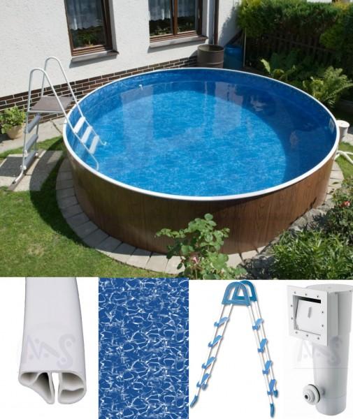 Schwimmbecken Holzoptik Kartuschenfilter 4,60 x 1,20 m