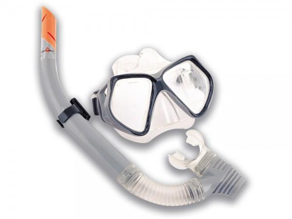 Taucherbrillen Set Pro 14+ grau/schwarz