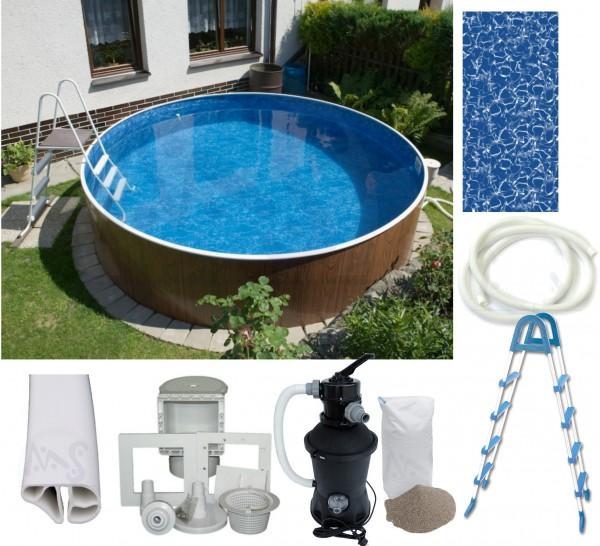 Schwimmbecken Set Holzoptik 3,60 x 1,07 m mit Sandfilter