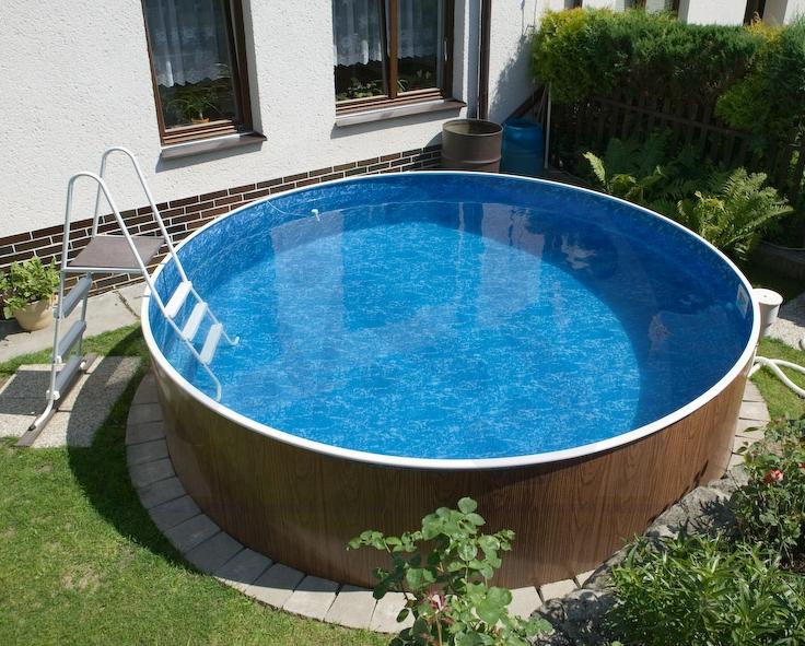 Schwimmbecken set holzoptik 3 60 x 1 07 m rundpool for Rundpool set