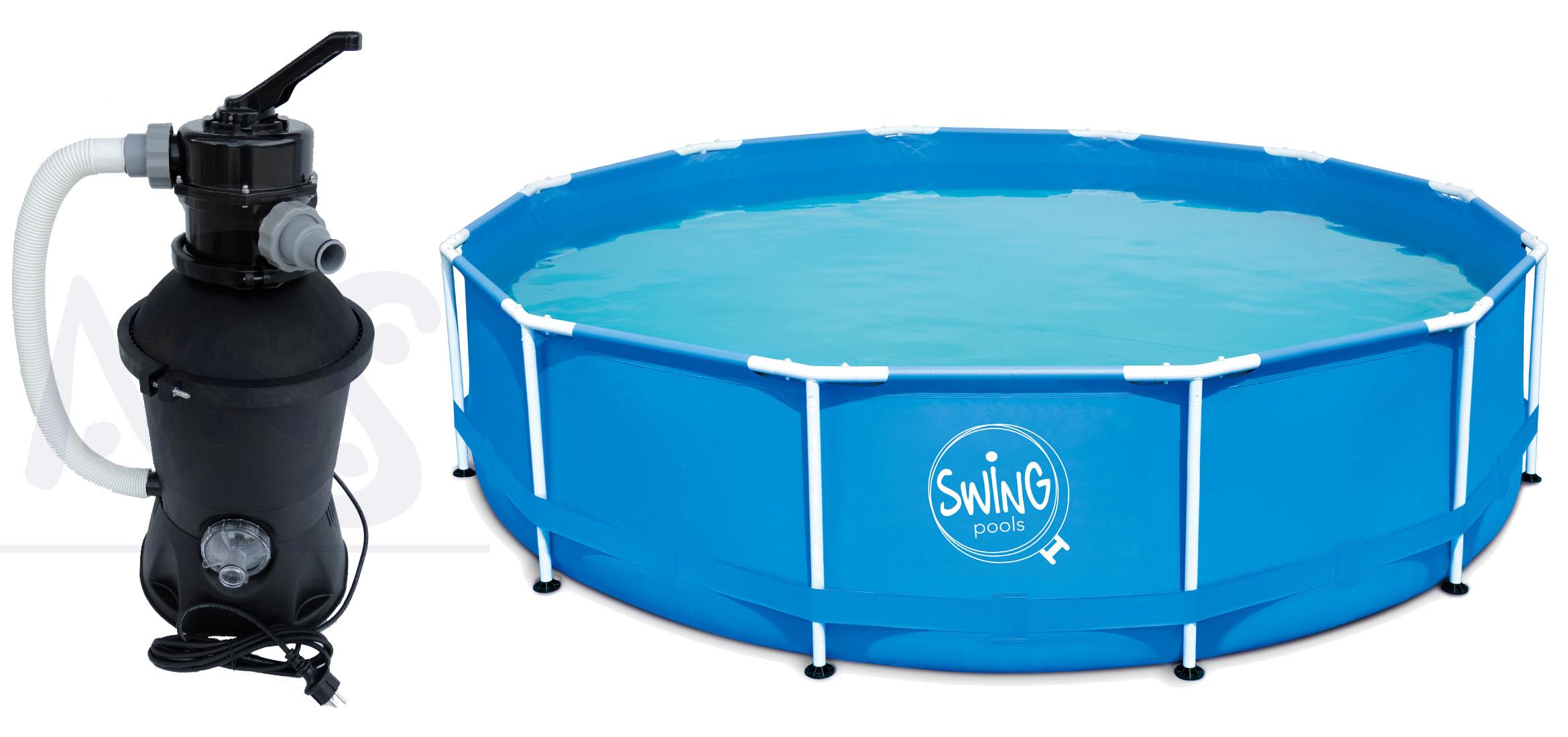 Swing frame metal pool 366 x 84 cm mit sandfilter quick for Garten pool mit sandfilter