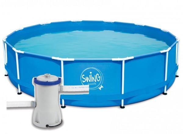 Swing Frame Metal Pool 366 X 84 cm mit Kartuschenfilter