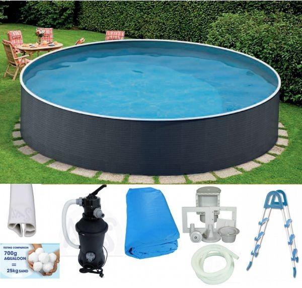 Schwimmbecken Rund Set 3,60 x 0,90 m Filteranlage Stahlwandbecken Pool Swimming