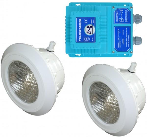 2 x MS Schwimmbadscheinwerfer mit Trafo Folie
