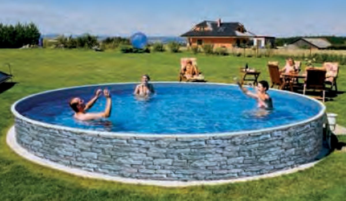 Schwimmbecken pool steinoptik 5 00 m x 1 2 m stahlwandpool for Stahlwandbecken steinoptik