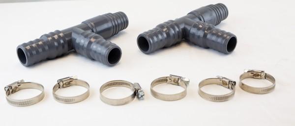 2 x T-Stück 32 mm und 38 mm für Schlauch