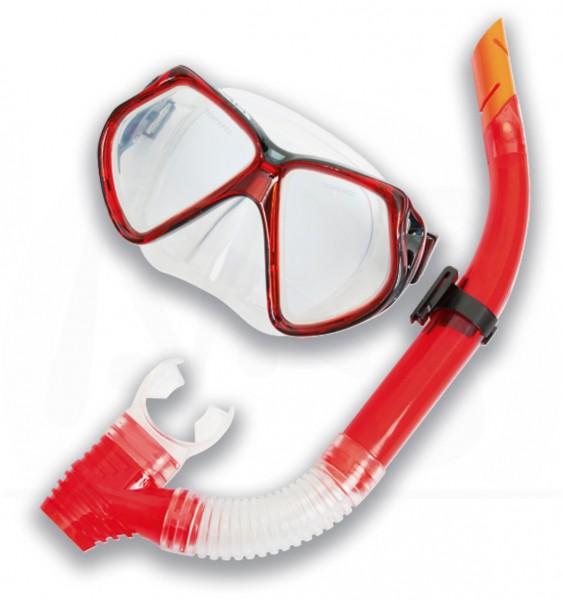 Taucherbrillen Set Profi Pro rot/schwarz