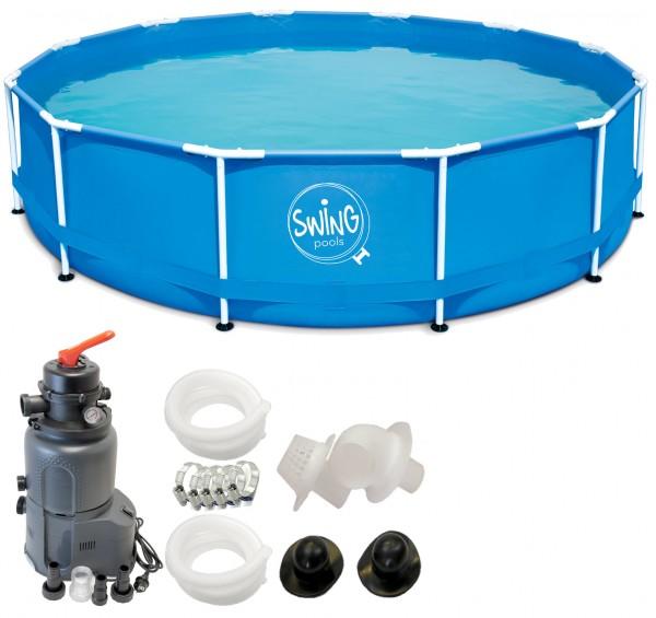 Swing Frame Metal Pool 366 X 84 cm mit Sandfilter Azuro 2m³