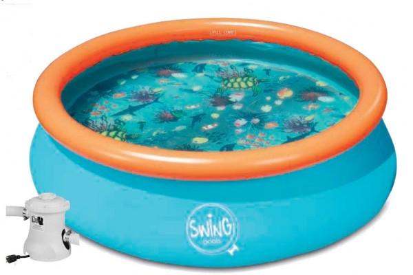 3D-Pool Quick Up Pool 3,05 x 0,76 m mit 3D-Brille mit Kartuschenfilter