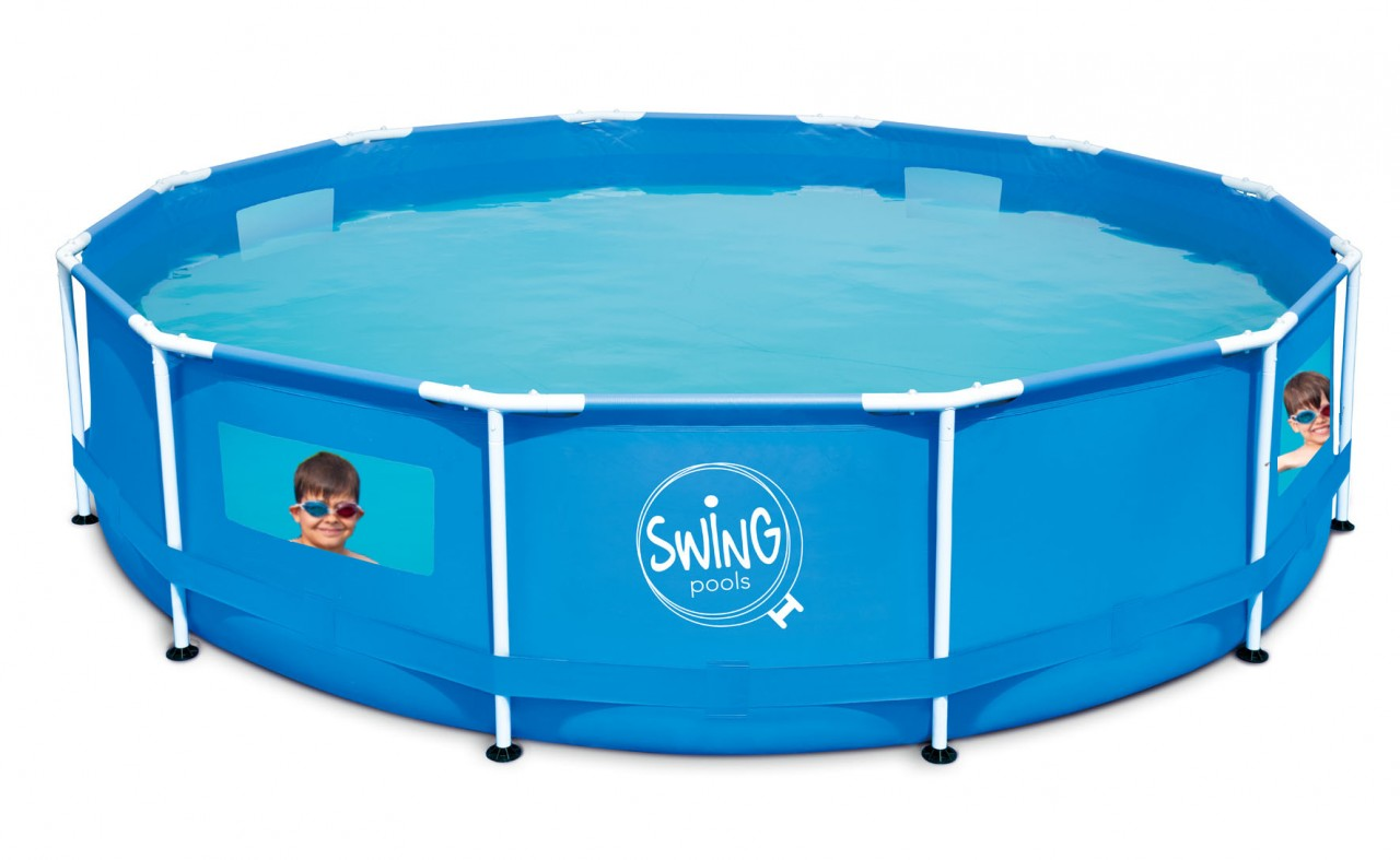 Swing Frame Metal Pool 366 X 91 cm mit Fenstern | Quick Up Pool ...