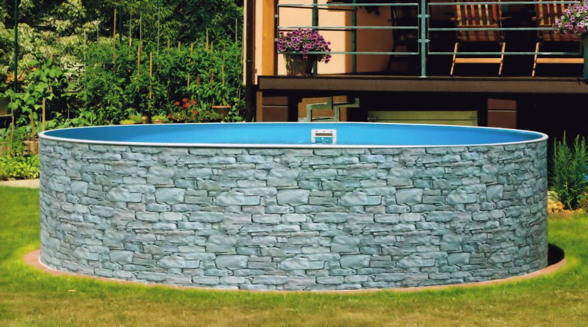 Schwimmbecken steinoptik 3 6 x 1 20 m rund stahlwandpool for Stahlwandpool steinoptik
