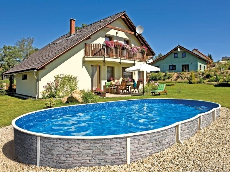 Stahlwandbecken 5 50x3 7x1 20 m oval pool swimmingpool for Stahlwandbecken steinoptik