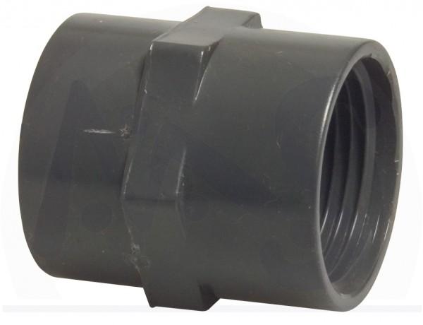 PVC Klebemuffe 50 mm innengewinde 1 1/2 Zoll