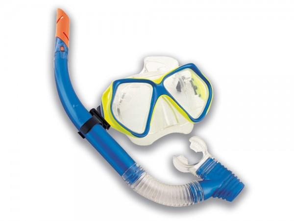 Taucherbrillen Set Pro 14+ blau/gelb